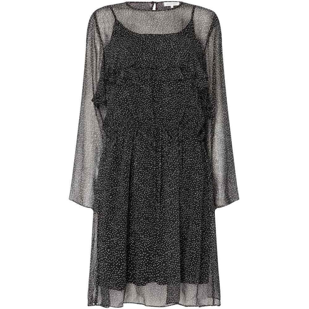 セカンドフィメール Second Female レディース ワンピース・ドレス ワンピース【Rebecca Long Sleeve Ruffle Knee Length Dress】Black