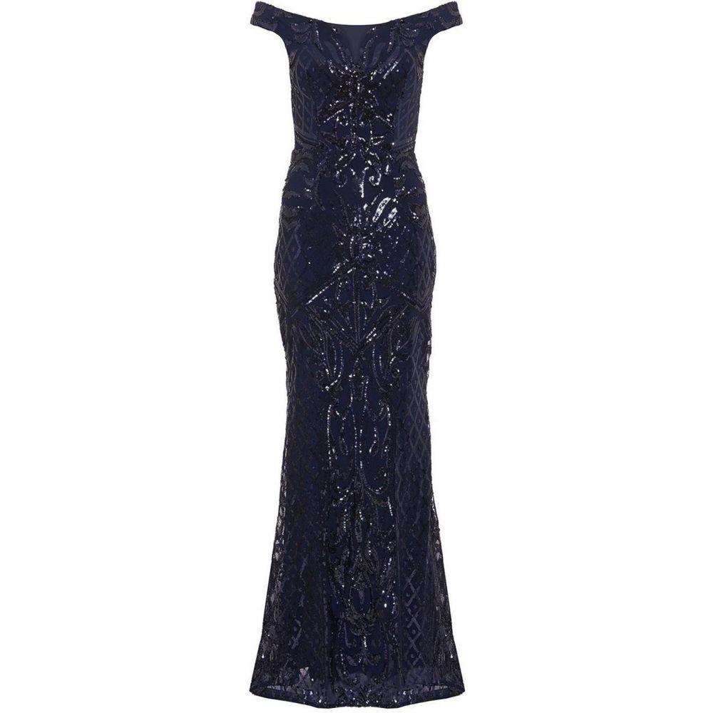 クイズ Quiz レディース ワンピース・ドレス ワンピース【Navy Sequin Bardot Fishtail Maxi Dress】Navy