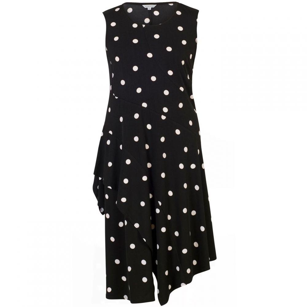 チェスカ Chesca レディース ワンピース・ドレス ワンピース【Spot Print Jersey Dress With Flounce Trim】Black & Ivory