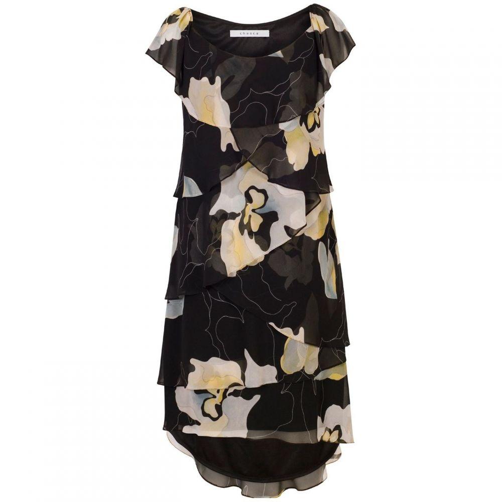 チェスカ Chesca レディース ワンピース・ドレス ワンピース【Floral Layered Chiffon Dress】black multi