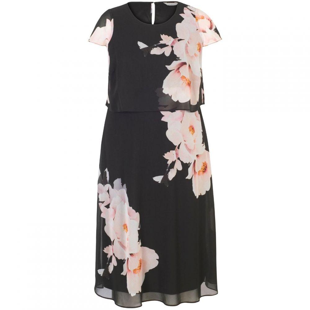 チェスカ Chesca レディース ワンピース・ドレス ワンピース【Floral Print Double Layer Chiffon Dress】Black
