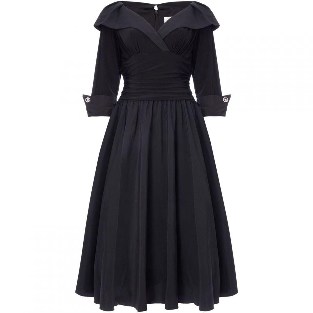 エリザジェイ Eliza J レディース ワンピース・ドレス ワンピース【Cuff sleeve V neck ruched waist dress】Black
