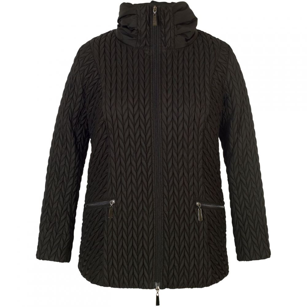 チェスカ Chesca レディース アウター コート【Cable Embroidered Quilted Coat】Black