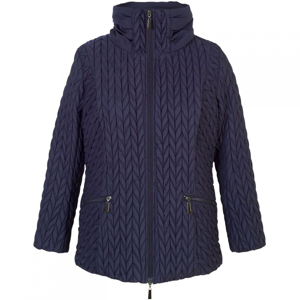 チェスカ Chesca レディース アウター コート【Cable Embroidered Quilted Coat】French Navy