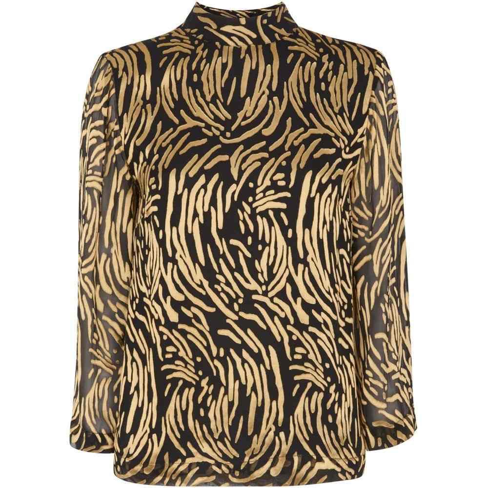 ホイッスルズ Whistles レディース トップス 【reed devore fluted sleeve top】Black Gold