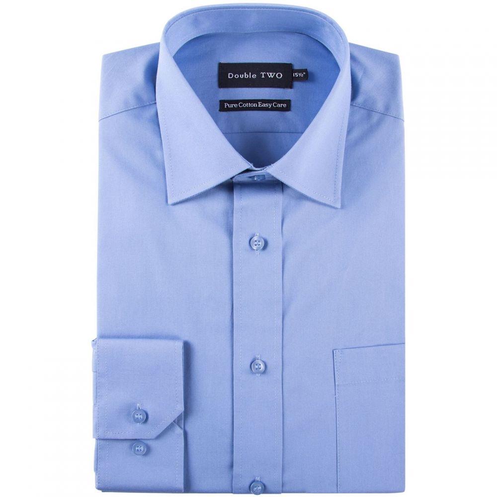 ダブルTWO Double Two メンズ シャツ トップス【king size 100 percent cotton poplin shirt】Blue