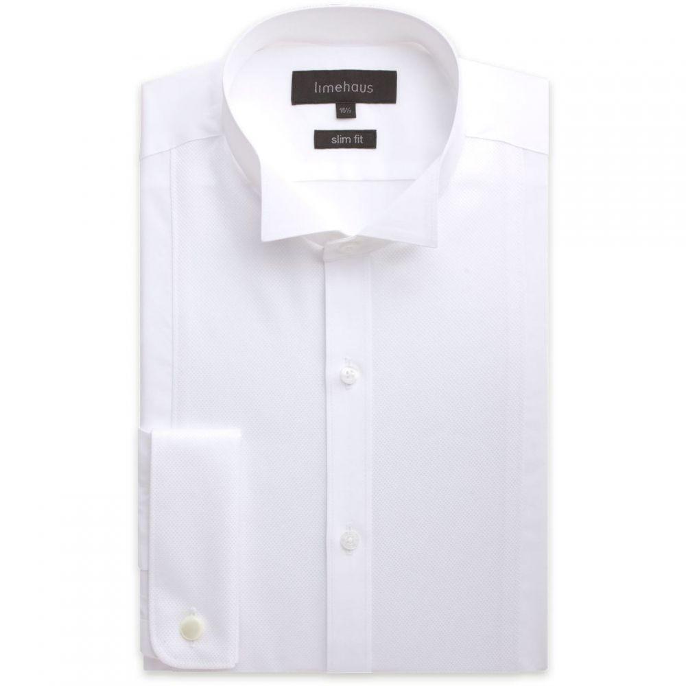 ライムハウス Limehaus メンズ シャツ トップス【plain slim fit long sleeve wing collar shirt】White
