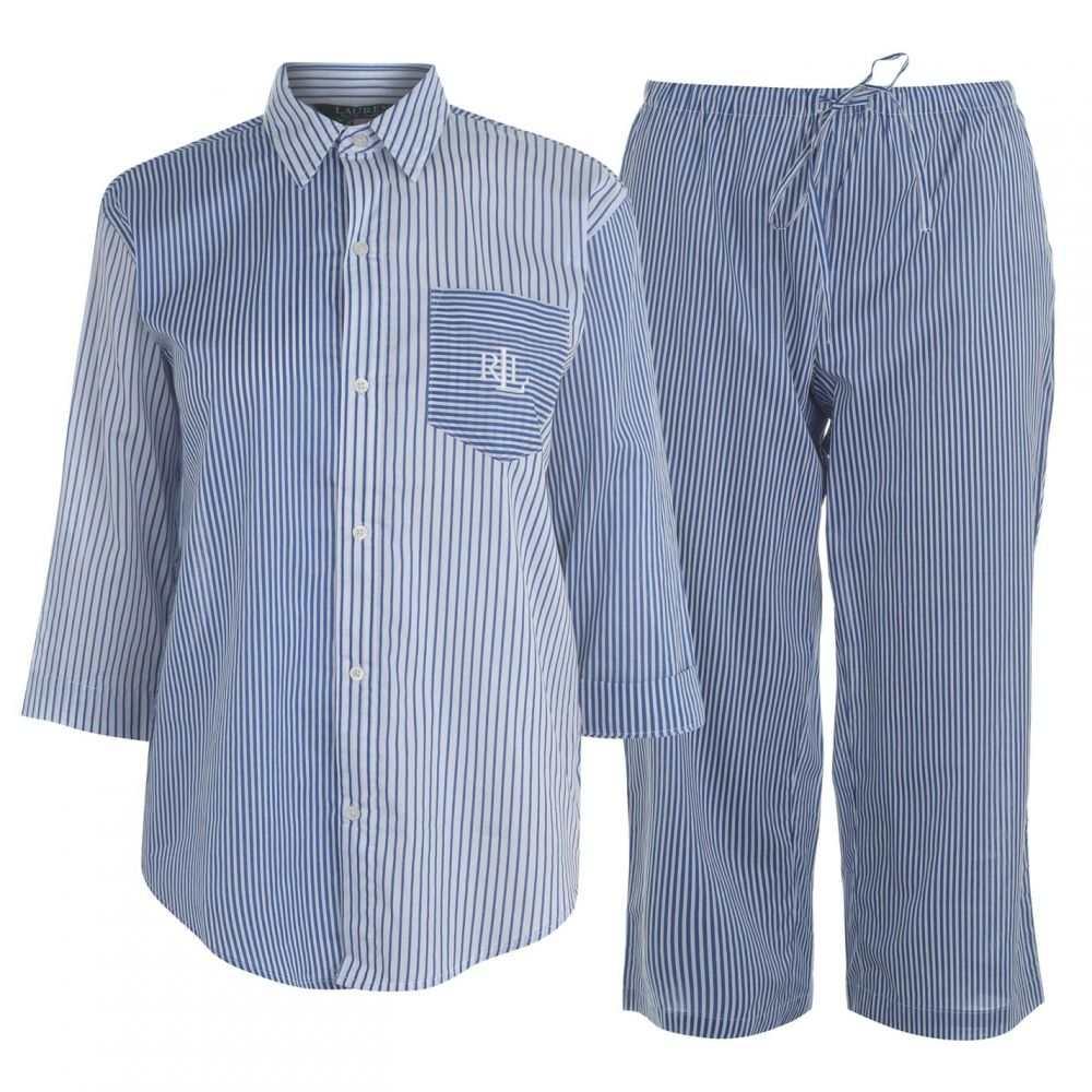 ラルフ ローレン Lauren by Ralph Lauren レディース インナー・下着 パジャマ・上下セット【Lauren Stripe three quarter Pyjama Set】BLUE STP