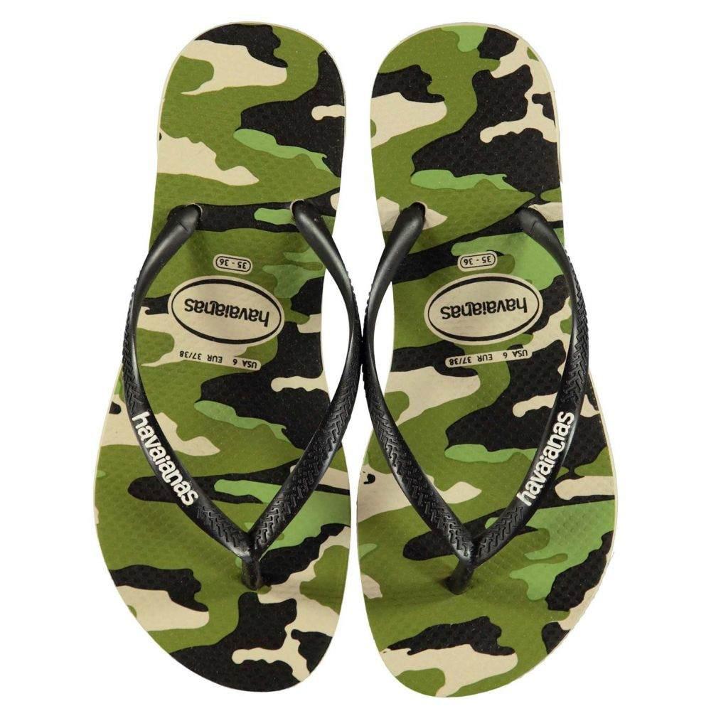 ハワイアナス Havaianas レディース シューズ・靴 ビーチサンダル【Slim Camo Flip Flops】BEIGE/BLACK