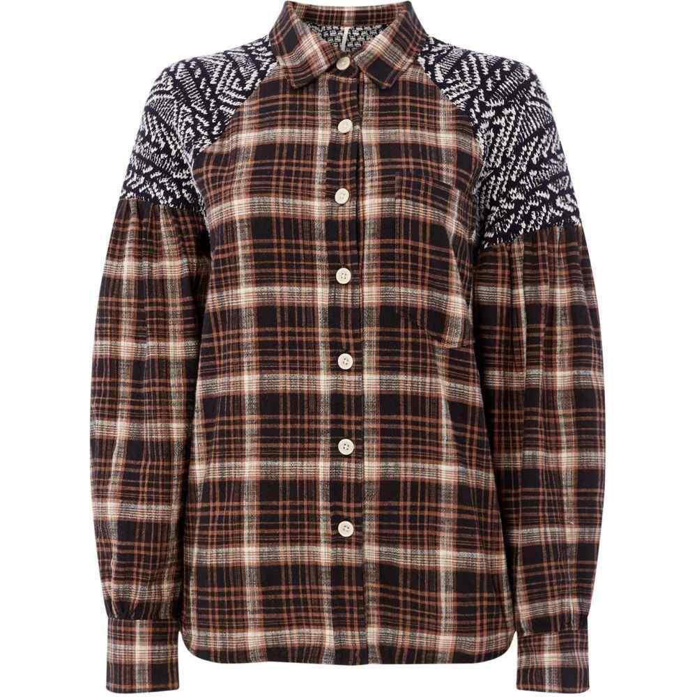 フリーピープル Free People レディース ブラウス・シャツ トップス【fireside nights buttondown checked shirt】Black