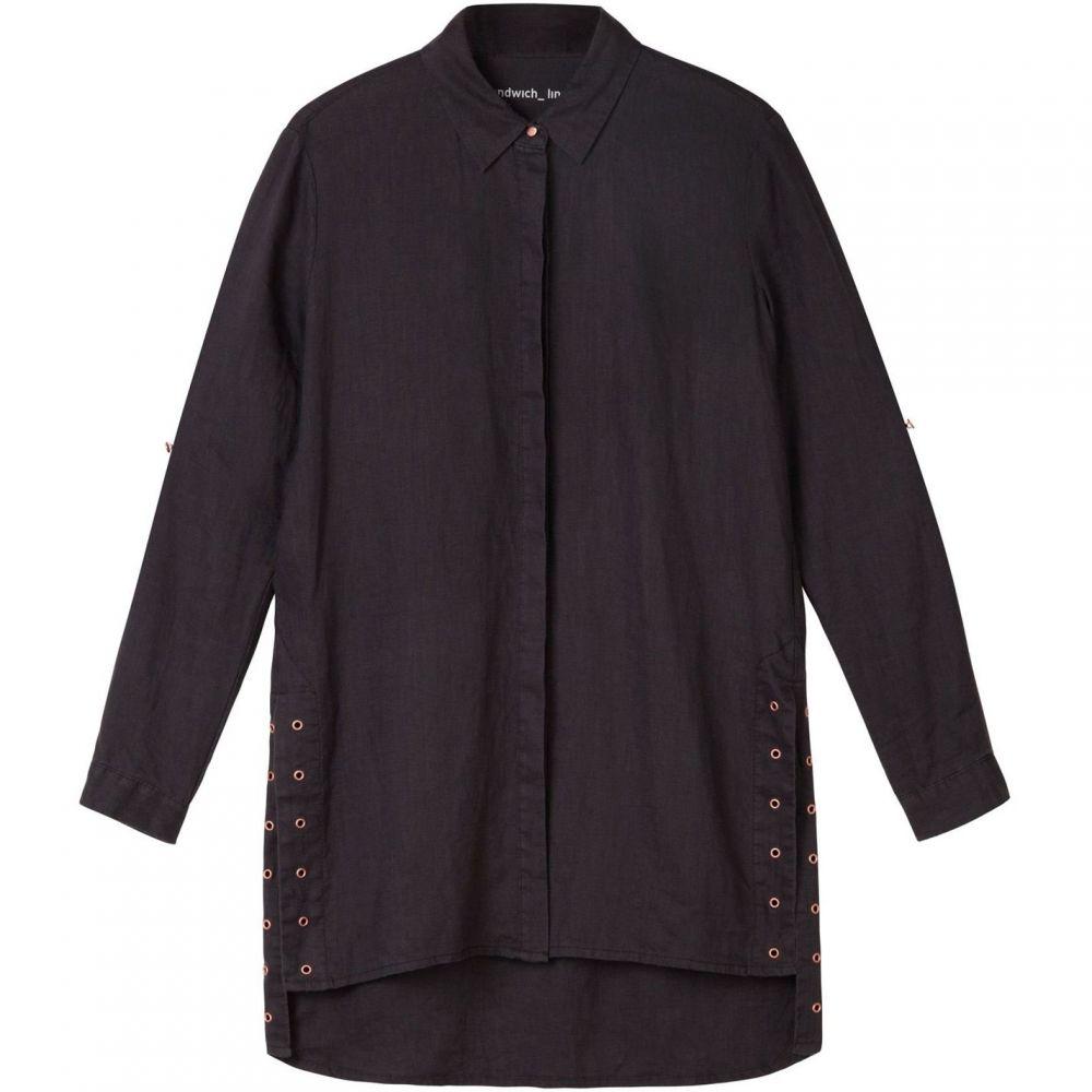 サンドイッチ Sandwich レディース トップス ブラウス・シャツ【Longline Linen Shirt With Eyelet Detail】Black