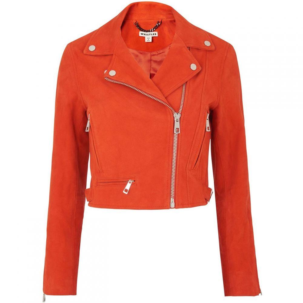 ホイッスルズ Whistles レディース レザージャケット アウター【rose suede crop jacket】Orange