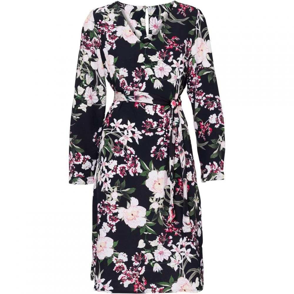 キャロライナ カブール Carolina Cavour レディース ワンピース・ドレス ワンピース【Flower Print Dress With Belt】Black
