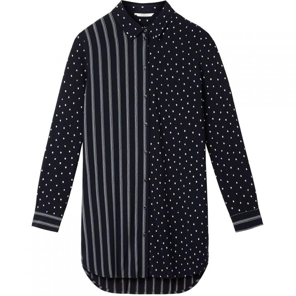 サンドイッチ Sandwich レディース トップス Tシャツ【Stripe And Polka Dot Shirt】Navy