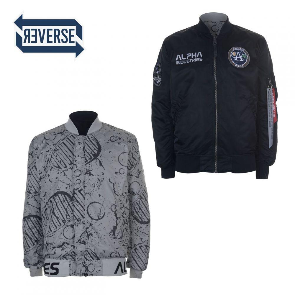 アルファ インダストリーズ Alpha Industries メンズ ブルゾン ミリタリージャケット アウター【ma 1 moon reversible bomber jacket】Black
