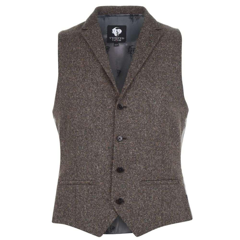 ツイステッド テイラー Twisted Tailor メンズ トップス ベスト・ジレ【Tweed Waistcoat】Brown