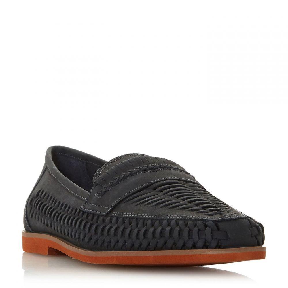 デューン Dune メンズ シューズ・靴 スリッポン・フラット【Brighton Rock Woven Moccasins】Navy