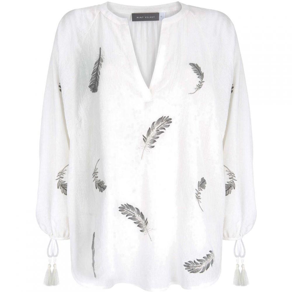 ミルトン ベルベット Mint Velvet レディース トップス【Ivory Feather Embroidered Top】Ivory