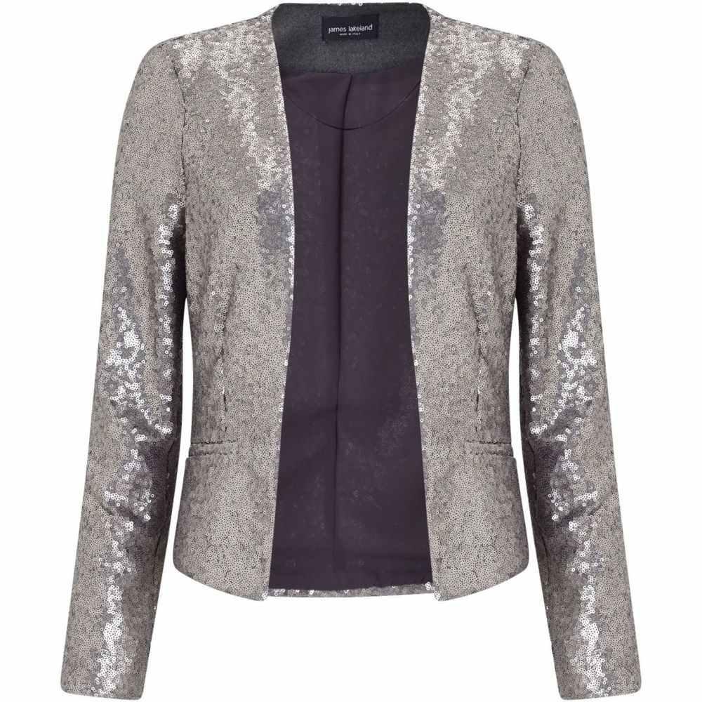 ジュームズ レイクランド James Lakeland レディース アウター ジャケット【Sequins Jacket】Silver Metallic