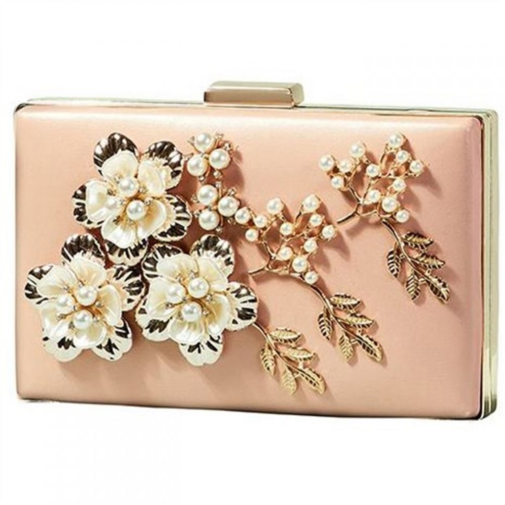 ユミ Yumi レディース バッグ【Flower Applique With Pearl And Leaf Detail】Pink
