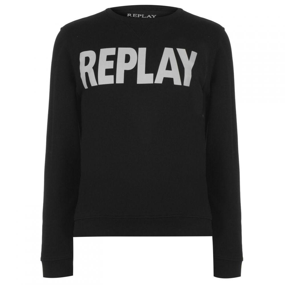 リプレイ Replay メンズ トップス スウェット・トレーナー【Logo Crew Sweatshirt】Black