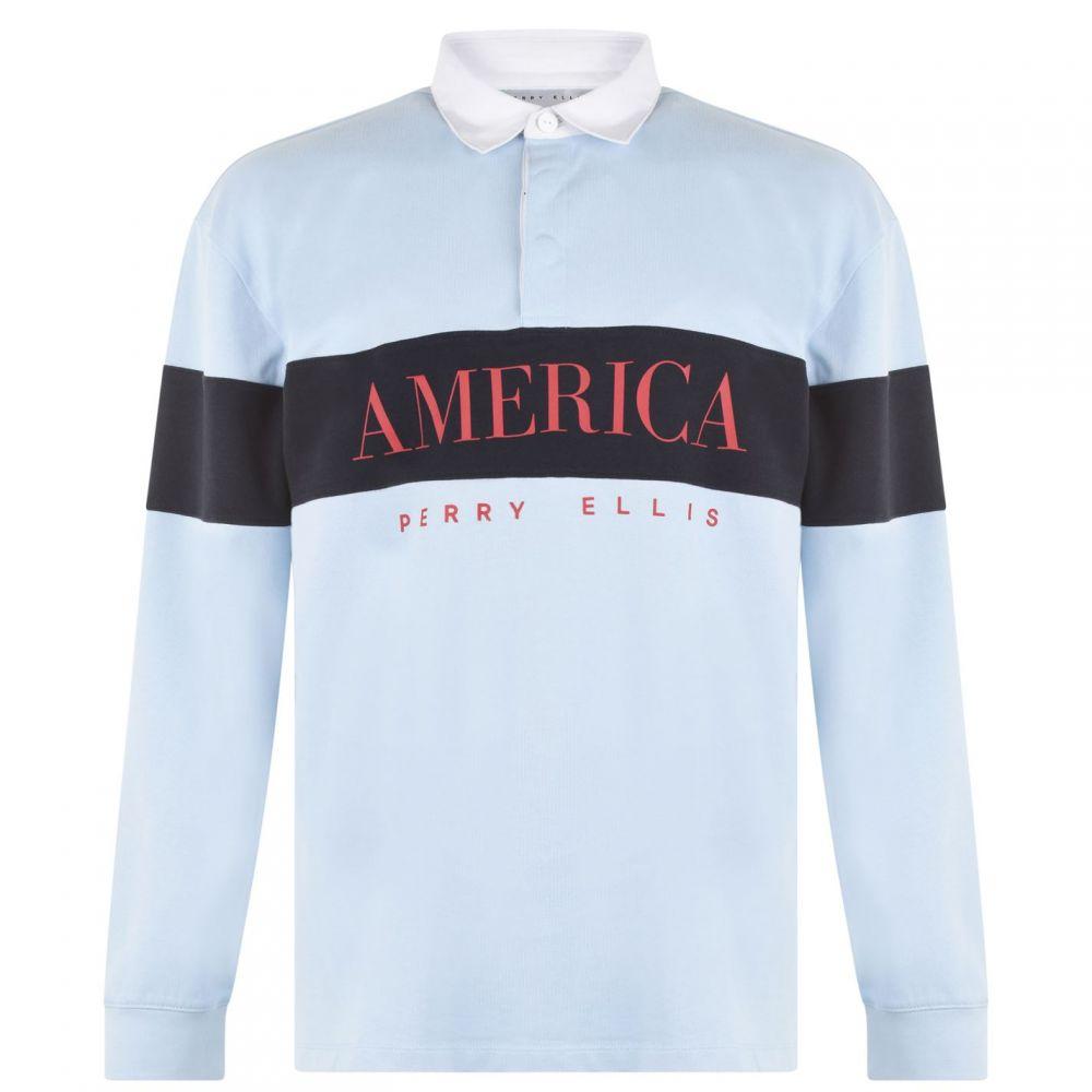 ペリー エリス Perry Ellis メンズ トップス ポロシャツ【Panel Rugby Polo Shirt】Blue