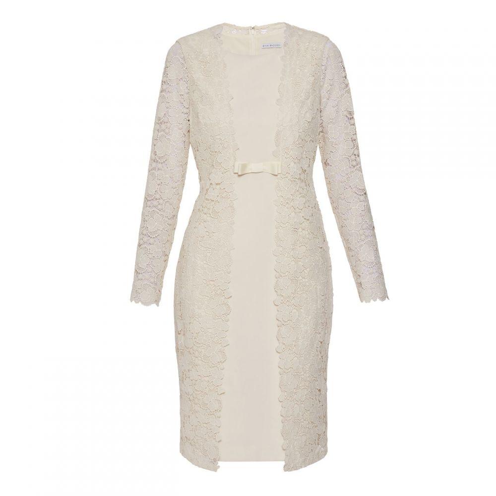 ジーナ バッコーニ Gina Bacconi レディース ワンピース・ドレス ワンピース【Summer Lace And Crepe Dress】Cream