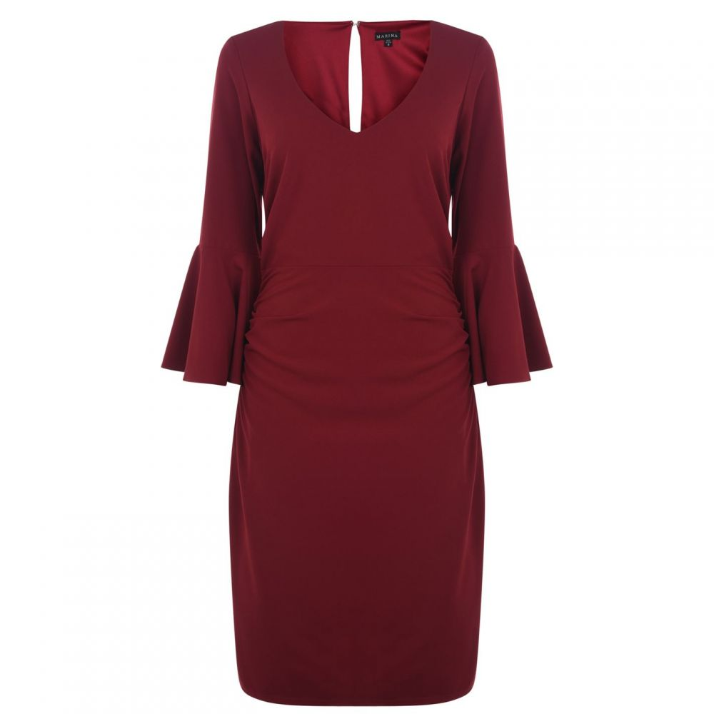 マリナ Marina レディース ワンピース Vネック ワンピース・ドレス【v neck dress with bell sleeves】Red