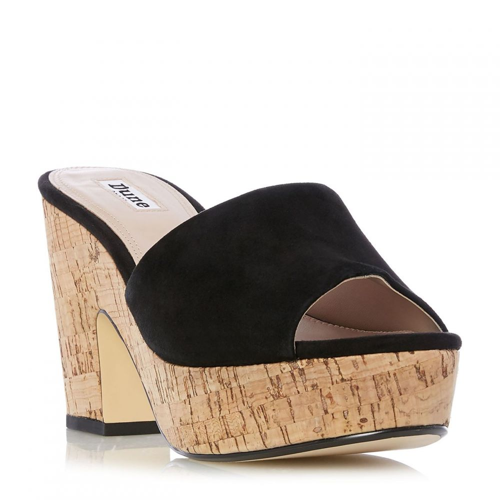 デューン Dune レディース サンダル・ミュール ウェッジソール シューズ・靴【indigow cork wedge mules】Black
