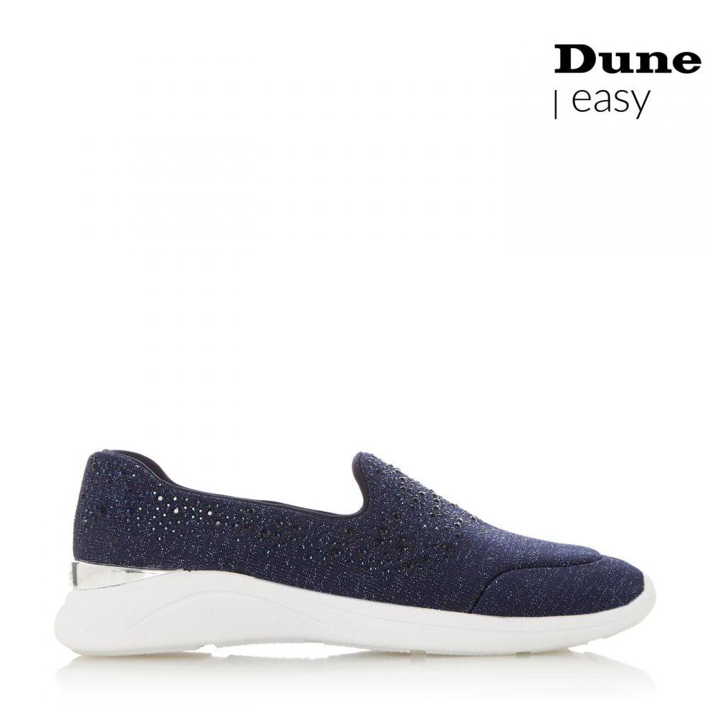 デューン Dune レディース スリッポン・フラット シューズ・靴【Easy Slipper Cu Embellished Slip On Trainers】Navy