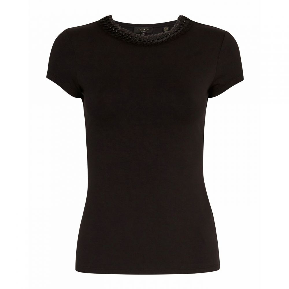 テッドベーカー Ted Baker レディース Tシャツ トップス【Jacii Frill Neck Fitted T-Shirt】Black