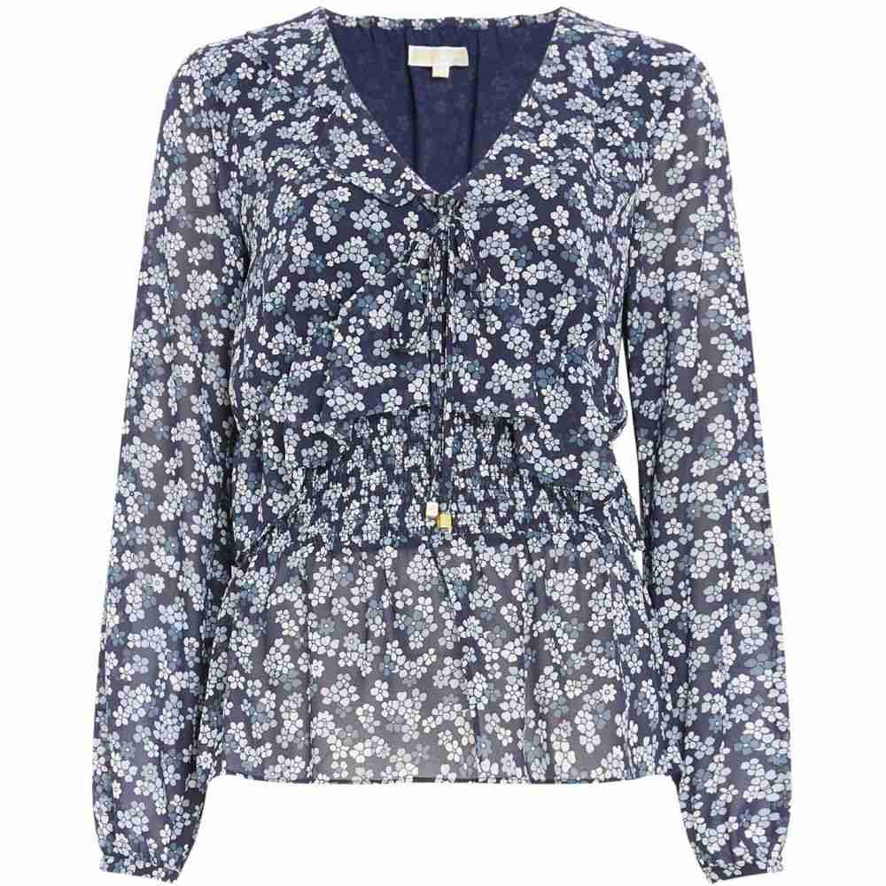 マイケル コース MICHAEL Michael Kors レディース トップス 【Sheer top with cherry blossom print】Navy