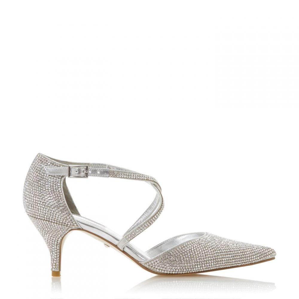 デューン Dune レディース シューズ・靴 キトゥンヒール【Captivated Silver Crystal Embellished Kitten Heels】Silver