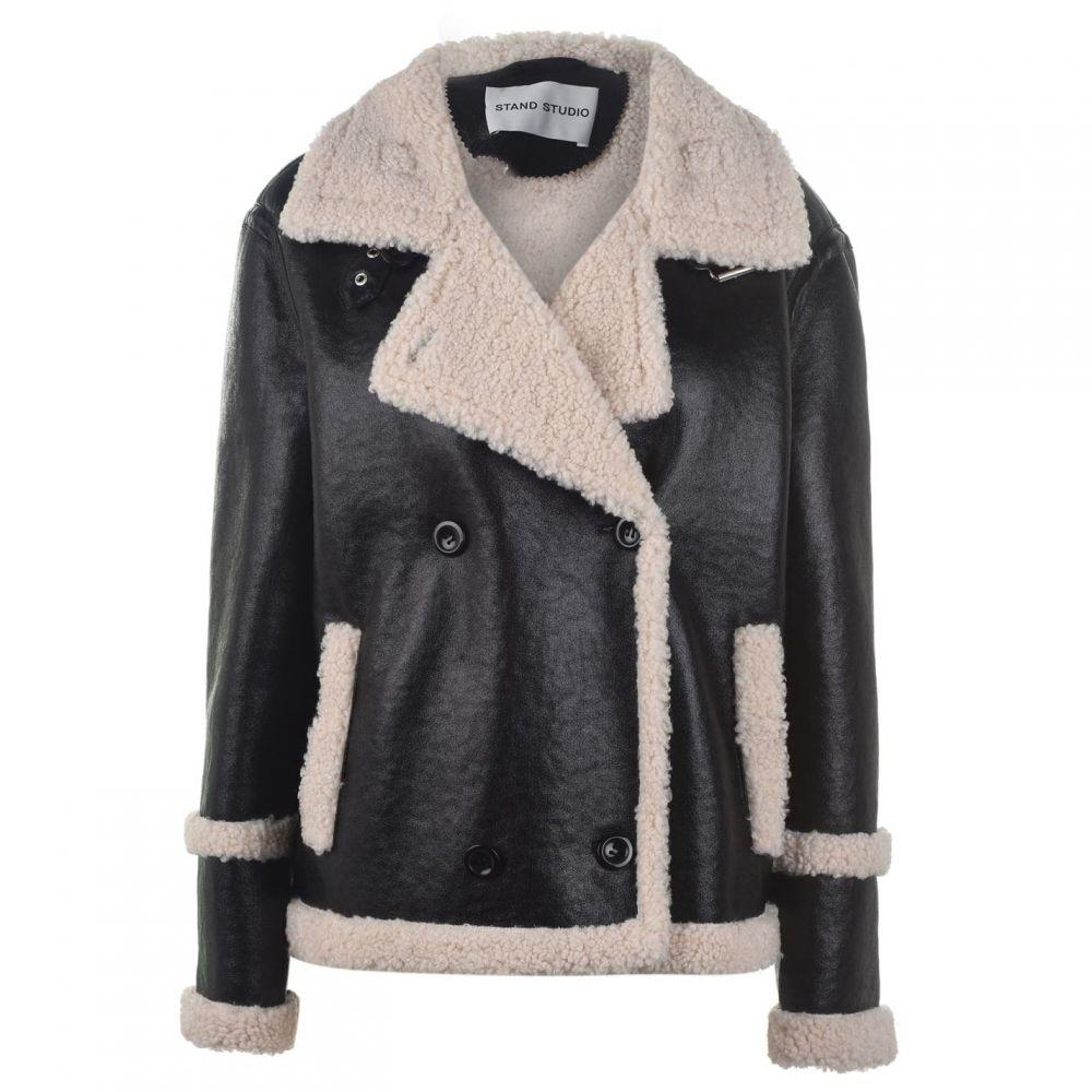スタンド STAND レディース レザージャケット アウター【Lilli Faux Leather Jacket】Black/Wht
