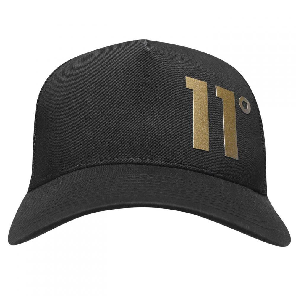 イレブンディグリー メンズ 帽子 キャップ 【サイズ交換無料】 イレブンディグリー 11 Degrees メンズ キャップ トラッカーハット 帽子【Logo Trucker Hat Sn94】Black/Gold
