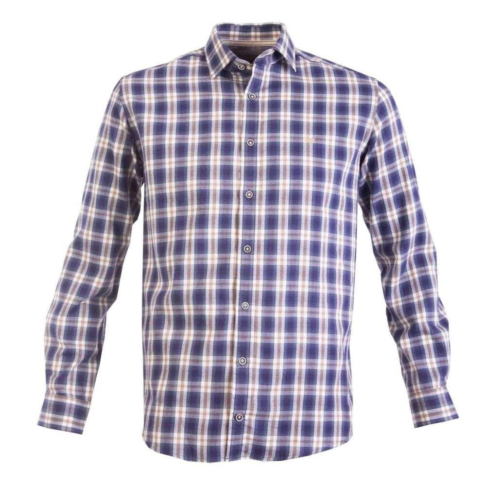 ダブルTWO メンズ トップス シャツ 【サイズ交換無料】 ダブルTWO Double Two メンズ シャツ トップス【Tonal Check Casual Shirt】Blue