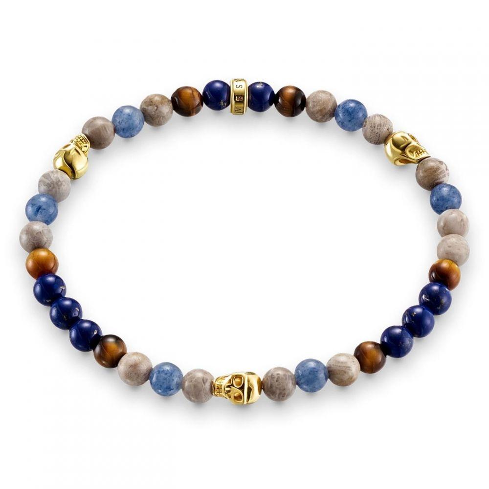 トーマスサボ Thomas Sabo メンズ ブレスレット ハート ジュエリー・アクセサリー【Rebel at heart stretch gold skull bracelet】Multi-Coloured