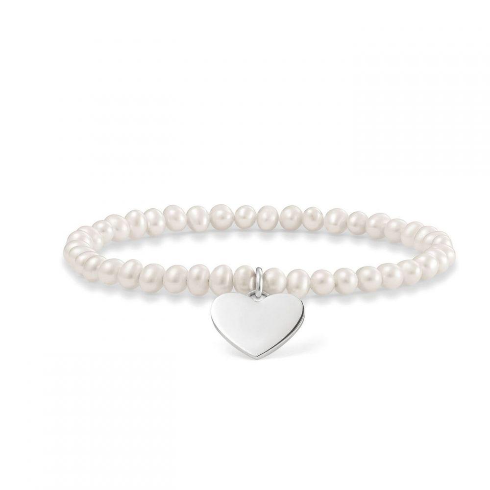 トーマスサボ Thomas Sabo メンズ ブレスレット ハート ジュエリー・アクセサリー【Love Bridge heart tag pearl bracelet】Pearl