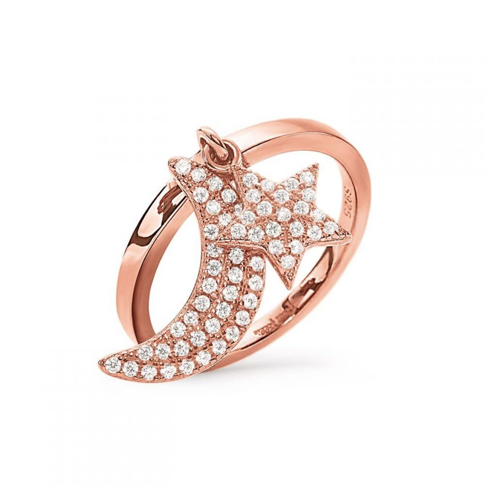 フォリフォリ Folli Follie メンズ 指輪・リング チャーム ジュエリー・アクセサリー【Charm Mates Moon And Star Ring】Rose Gold