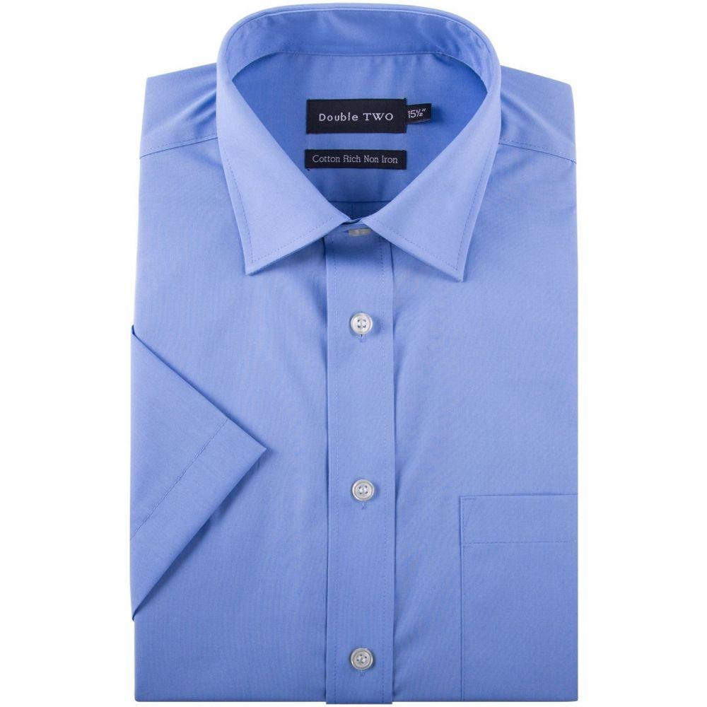 ダブルTWO Double Two メンズ 半袖シャツ トップス【King Size Short Sleeved Non-Iron Cotton Shirt】Blue