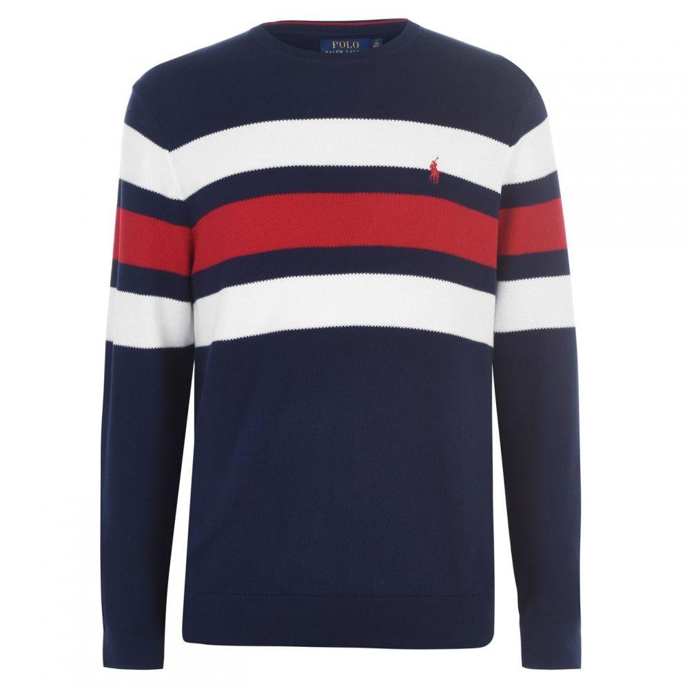ラルフ ローレン Polo Ralph Lauren メンズ スウェット・トレーナー トップス【Polo Stripe CN Sweat Sn01】Navy/Red/White