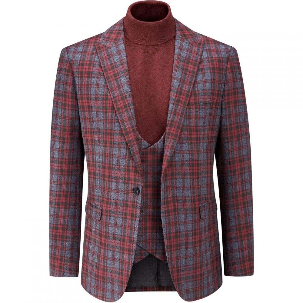 スコープス Skopes メンズ スーツ・ジャケット アウター【Garfield Tailored Check Suit Jacket】Red