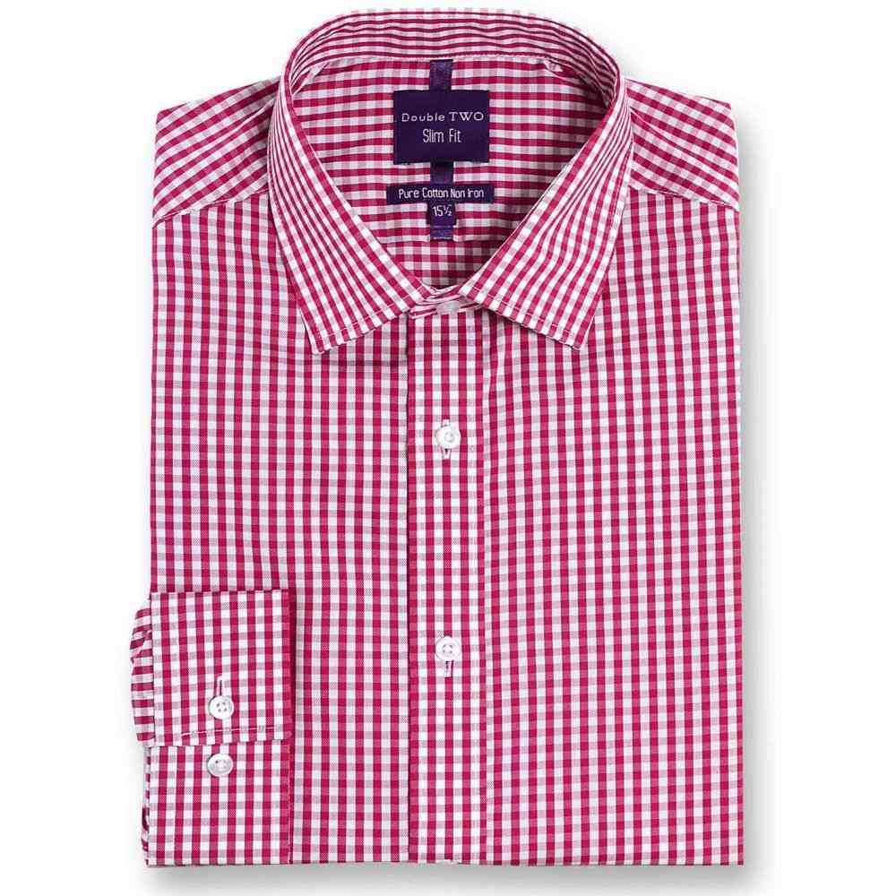 ダブルTWO Double Two メンズ シャツ トップス【Slim Fit 100% Cotton Non-Iron Shirt】Cherry