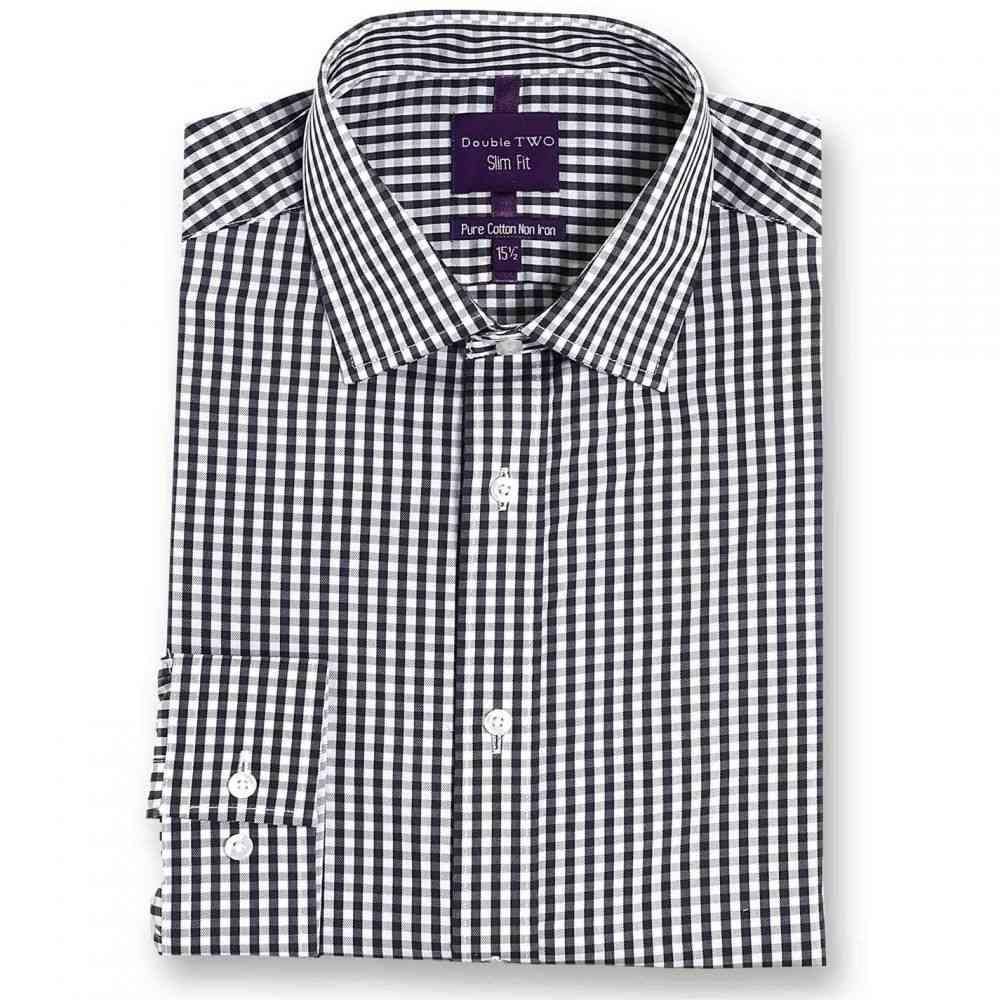 ダブルTWO Double Two メンズ シャツ トップス【Slim Fit 100% Cotton Non-Iron Shirt】Charcoal