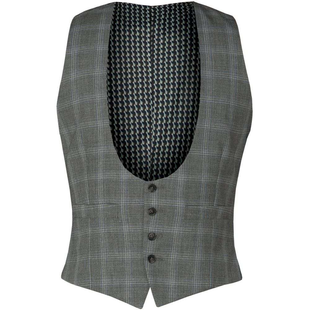 ライムハウス Limehaus メンズ ベスト・ジレ トップス【Grey Blue Check Waistcoat】Grey