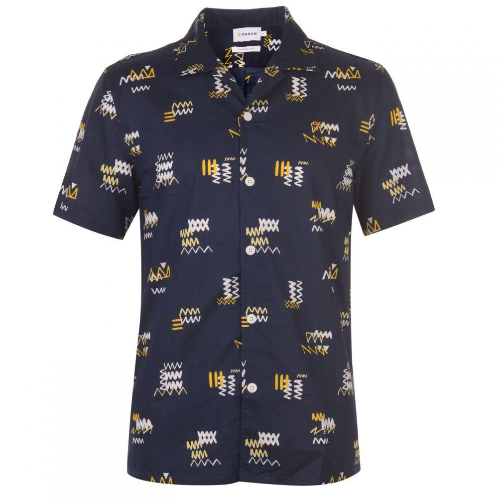 ファーラーヴィンテージ Farah Vintage メンズ 半袖シャツ トップス【Farah Short Sleeve Berman Shirt】NAVY