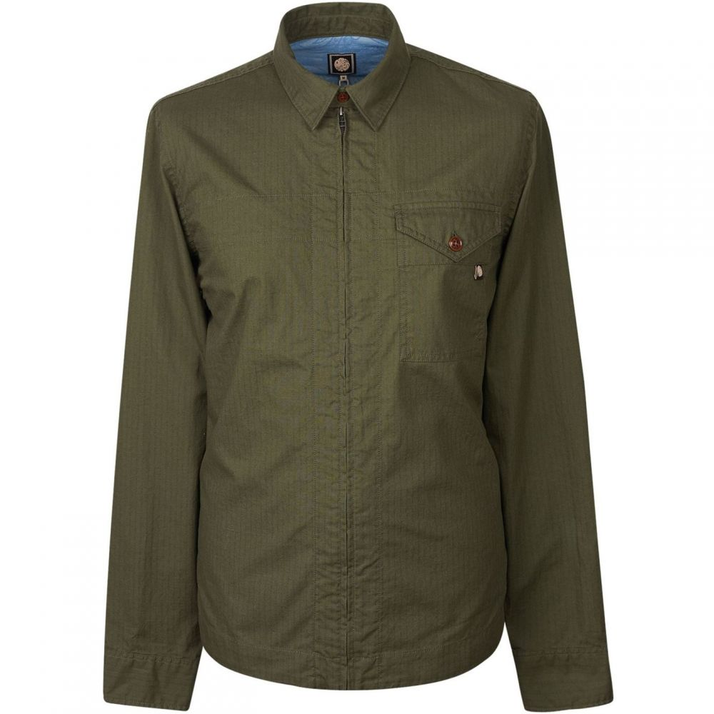 プリティー グリーン Pretty Green メンズ シャツ トップス【Zip Front Shirt With Back Print】Khaki