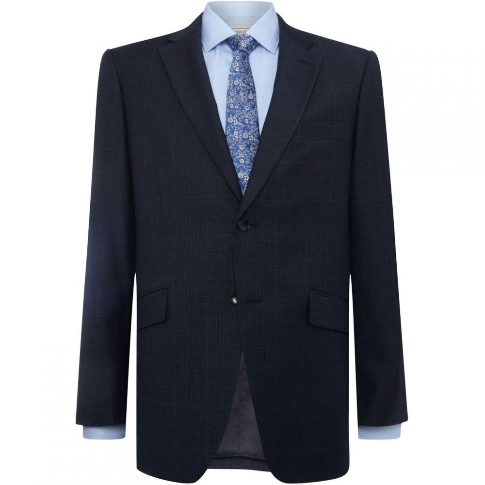 ハウィック Howick Tailored メンズ スーツ・ジャケット アウター【Baltimore SB2 Notch lapel POW check suit jacket】Navy