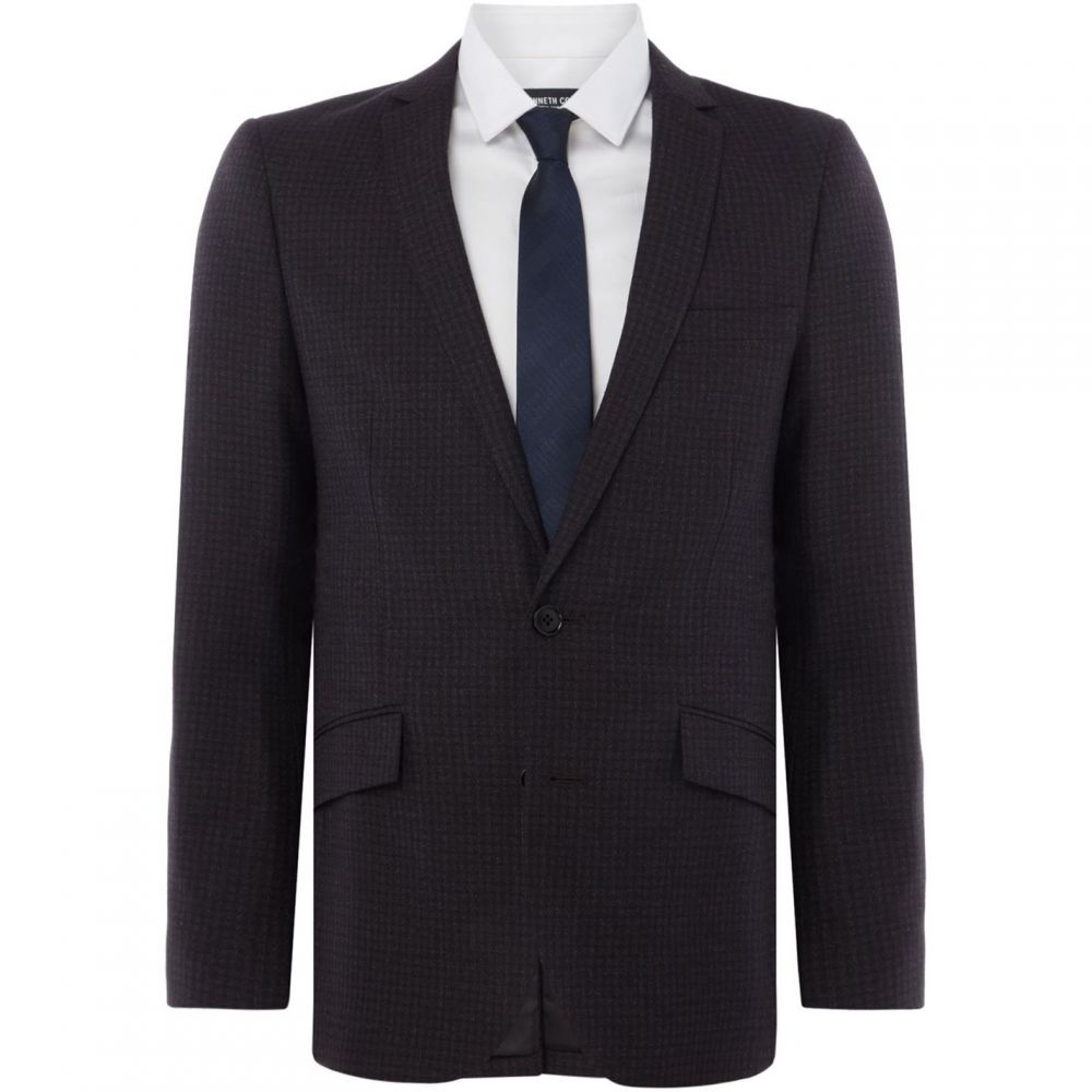 ケネス コール Kenneth Cole メンズ スーツ・ジャケット アウター【Stanton Gingham Checked Slim Fit Suit Jacket】Dark Grey