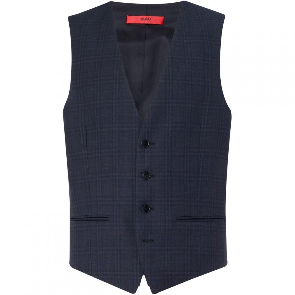 ヒューゴ ボス Hugo メンズ ベスト・ジレ トップス【Vin Slim Check Three-Piece Suit Waistcoat】Dark Blue